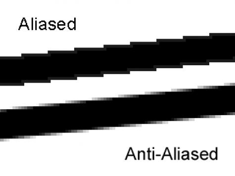 ภาพ 1: แสดงให้เห็นผลของการใช้เอ็ฟเฟ็ค Anti-Aliasing