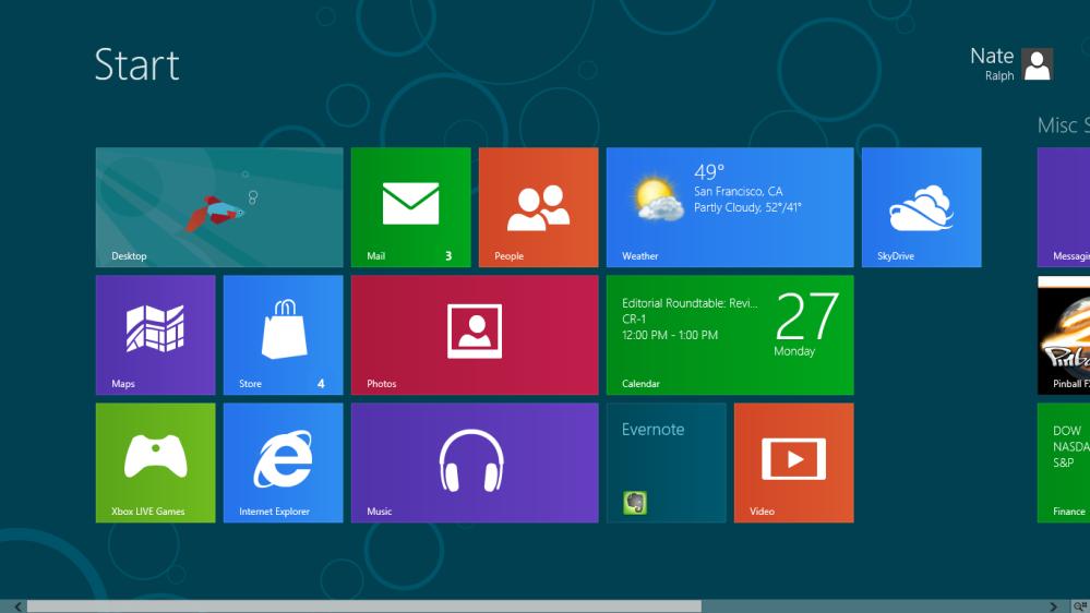 ลักษณะหน้าจอเริ่มต้นใหม่ของ Windows 8