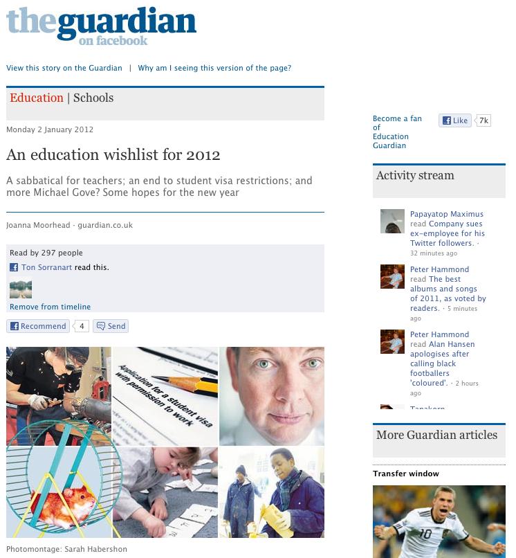 ตัวอย่างแอพพลิเคชัน The Guardian บน facebook สังเกตได้ว่าเพียงผมกดอ่านบทความนี้ระบบก็จะทำการแบ่งปันไปบน Timeline ให้โดยอัตโนมัติ แถมด้านข้างยังมี Activiy Stream ซึ่งแสดงบทความที่เพื่อนผมเคยกดอ่านไปแล้วอีกด้วย