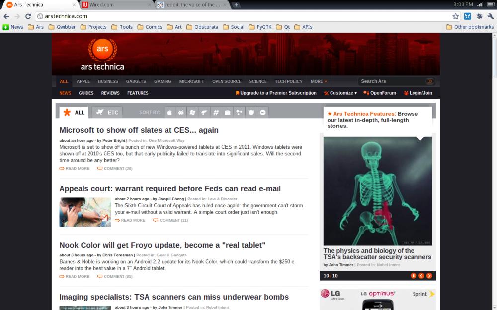 หน้าตาอินเตอร์เฟสของ Chrome OS ที่ดูไปแล้วเหมือนกับบราวเซอร์ชื่อเดียวกับไม่ผิดเพี้ยน (เครดิตภาพ: arstechnica.com)