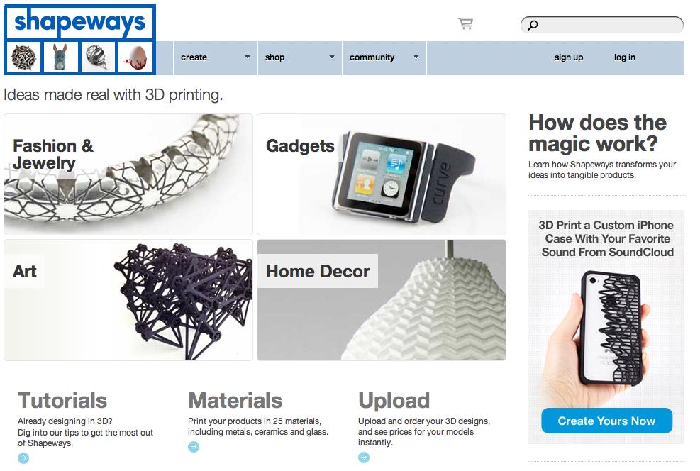 Shapeways บริการออนไลน์ที่ให้เราออกแบบวัตถุสามมิติแล้วพิมพ์ออกมาเป็นที่ระลึก
