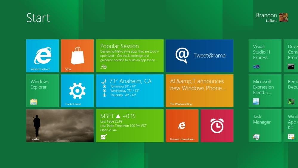 หน้าตาของ Start Screen ในรูปแบบ Metro