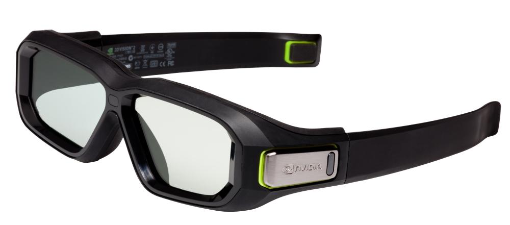 แว่น 3D Vision 2 จะเห็นได้ว่าขนาดเลนส์ใหญ่และสว่างกว่าอย่างเห็นได้ชัด