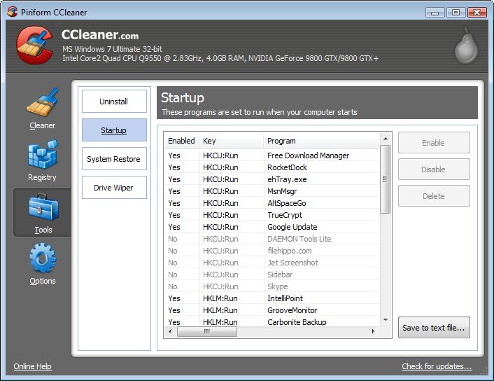 CCleaner สุดยอดโปรแกรมฟรีสารพัดประโยชน์ที่ให้เราปิดโปรแกรมที่แอบทำงานอยู่ได้ด้วย