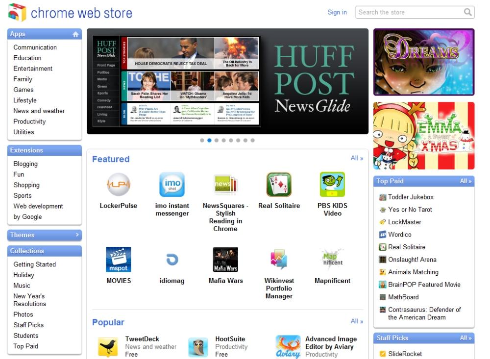 หน้าตาของ Chrome Web Store
