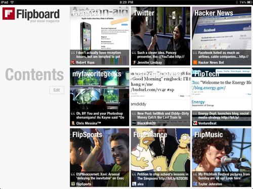 หน้าตาส่วนสารบัญของ Flipboard แอพพลิเคชั่น Social Magazine สุดฮอตที่มีจุดเด่นคือผู้อ่านสามารถปรับแต่งเลือกอ่านข่าวประเภทใดก็ได้ตามที่ต้องการ