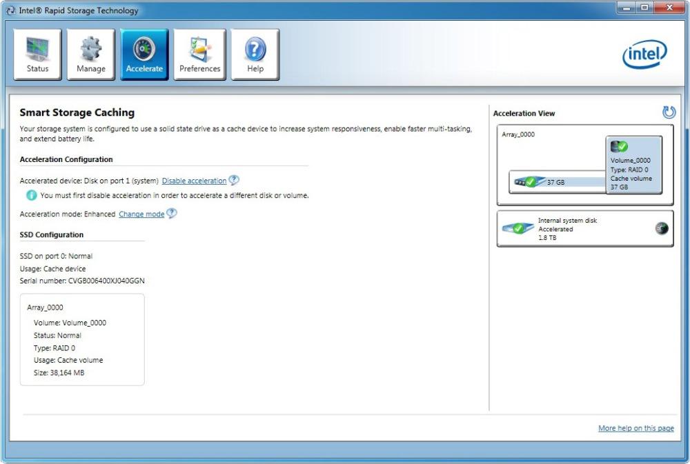 หน้าจอตั้งค่า SSD Caching ผ่านทางซอฟแวร์ของ Intel