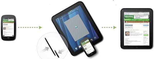 ภาพลักษณะการทำงาน Touch-to-Share ของ HP ที่เพียงนำอุปกรณ์ WebOS มาสัมผัสกันก็สามารถถ่ายโอนข้อมูลได้ ลองนึกดูว่าถ้าระบบปฏิบัติการบนพีซีในยุคหน้าสามารถทำเช่นนี้ได้จะสะดวกเพียงใด