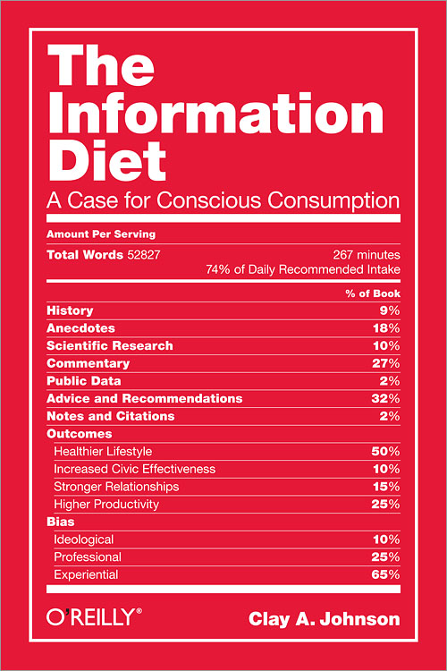 The Information Diet : A Case for Conscious Consumption โดย Clay Johnson นำเสนอวิธีการบริโภคข้อมูลอย่างมีสติ