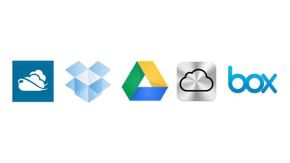 สารพัดบริการพื้นที่เก็บไฟล์ออนไลน์ในปัจจุบัน ไล่จากซ้ายมาขวาได้แก่ SkyDrive, Dropbox, Google Drive, iCloud และ Box แสดงให้เห็นถึงความนิยมอย่างล้นหลาม