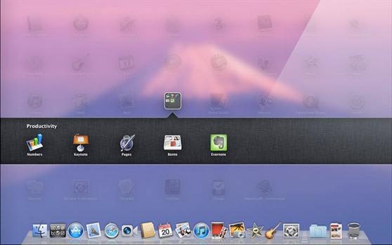 หน้าตาของ LaunchPad บน Mac OS X Lion จะเห็นได้ว่ารับอิทธิพลมาจาก iOS เต็มๆ