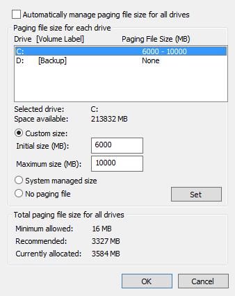 หน้าจอตั้งค่าหน่วยความจำเสมือนบน Windows 8