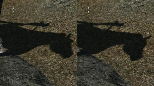 ซ้ายคือคุณภาพเงาระดับต่ำ ขวาคือระดับสูง จะเห็นว่าความสวยงามต่างกันมาก