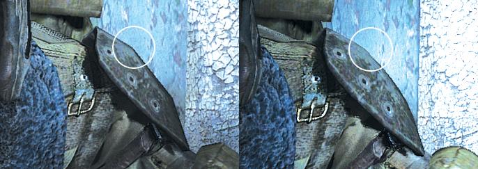 ภาพที่ 1 แสดงภาพที่ไม่ใช้ Tessellation (ซ้าย) และใช้ (ขวา)
