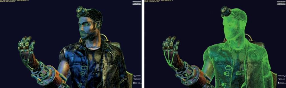 ภาพที่ 2 เป็นภาพ wireframe ที่ทางด้านซ้ายนั้นเป็นภาพที่แสดงให้เห็นโครงร่างของโพลีกอนก่อนการใช้เทคนิค Subdivision Surface ส่วนภาพขวานั้นเป็นโครงที่เห็นว่าใช้คุณสมบัติดังกล่าวแล้ว