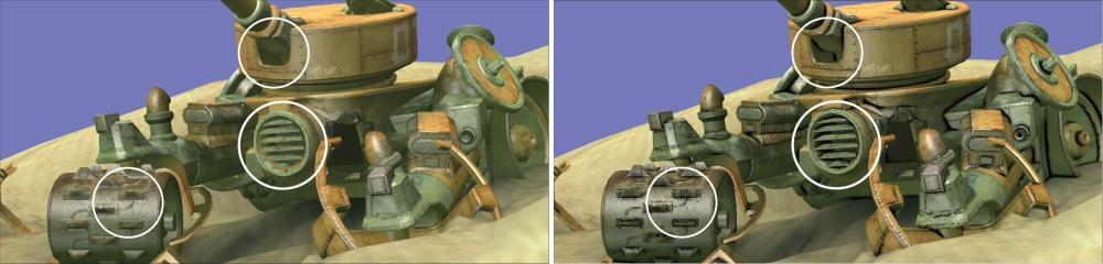 ภาพที่ 3 แสดงให้เห็นถึงเทคนิคการใช้ HDAO ภายในเกม จะเห็นว่าวัตถุดูมีมิติมากขึ้น