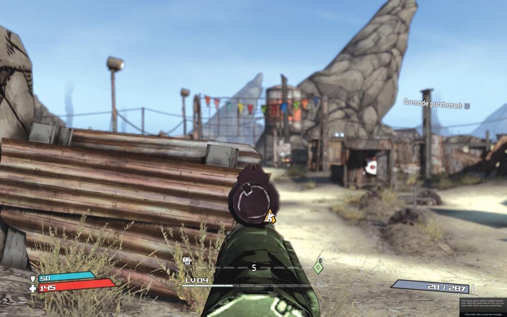 ภาพที่ 5 จากเกม Borderlands แสดงให้เห็นถึงลูกเล่นเทคนิคชัดตื้นตรงที่เราโฟกัสไปนั้นจะคมชัด ส่วนที่นอกเหนือไปนั้นจะเบลอ