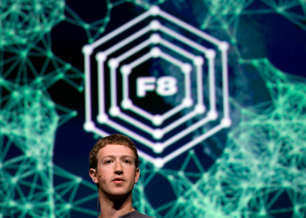 Facebook CEO Mark Zuckerberg addresses the audience while finishing his keynote address at the Facebook f8 Developers Conference in San Francisco