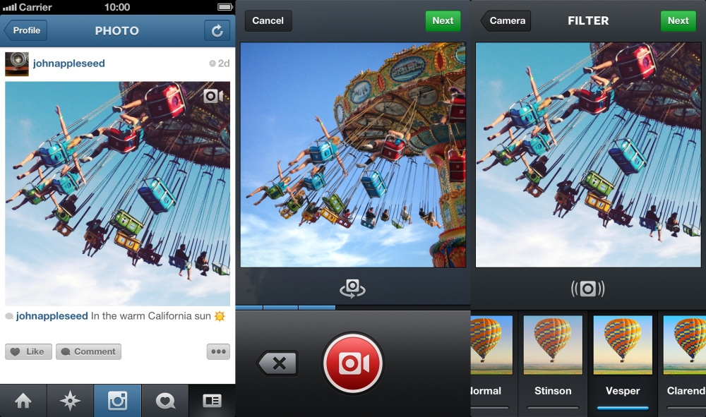 อินเทอร์เฟสบันทึกวิดีโอของ Instagram เวอร์ชันล่าสุดสามารถอัปโหลดวิดีโอที่ถ่ายไว้แล้วมาปรับแต่งได้