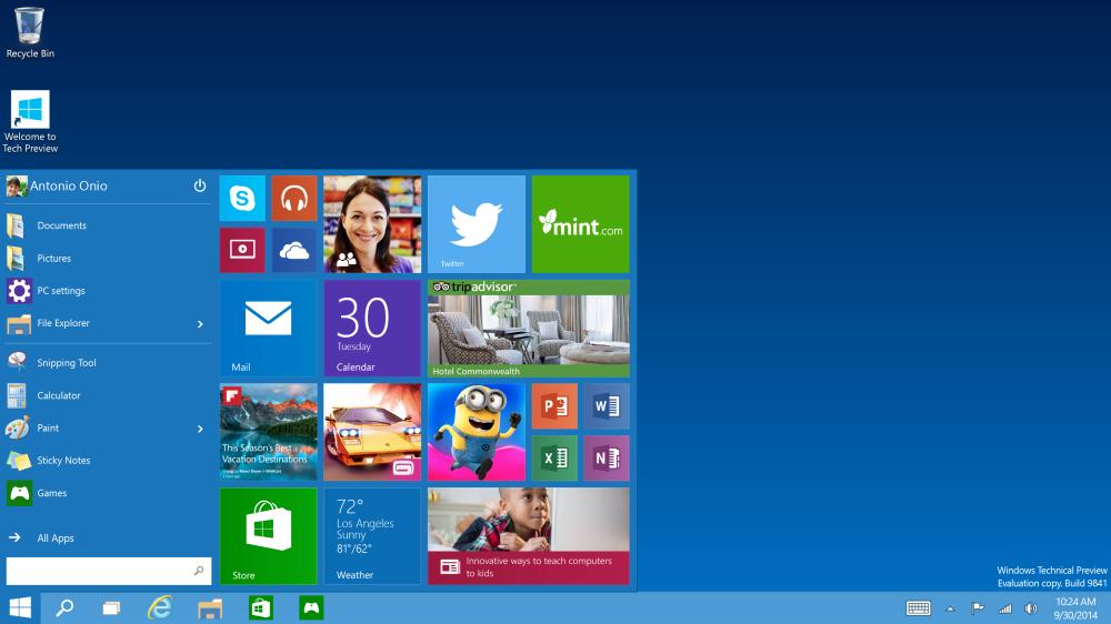 เมนู Start ใหม่ จะเห็นว่ามีการรวมคุณสมบัติเดิมเข้ากับลูกเล่นไลฟ์ไทล์ของ Windows 8